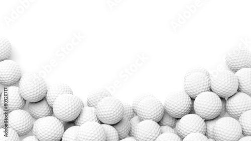 Golf balls pile with copy-space isolated on white background - 80320717