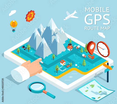 Isometric mobile GPS navigation flat map - 80320728