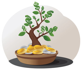 Green dollar sign tree grows in a pile of gold and silver coins