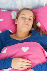 Sleeping teen girl