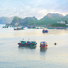 Dreamy seascape with authentic colourful boats