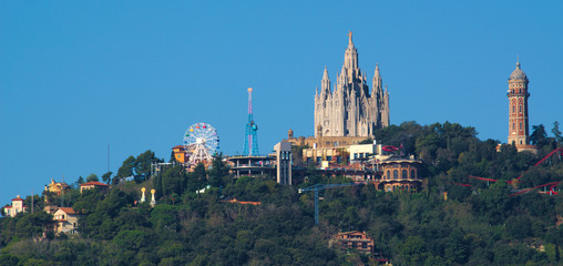 Tibidabo Mount as viewed from Park Guell at Barcelona, Spain