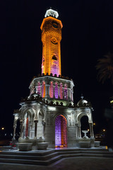 Night view of Konak Square. Clock tower with illumination