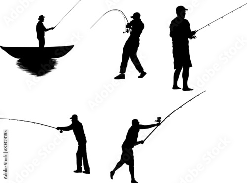The Set of Fishermen Silhouettes - 80323195