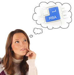 Close-up portrait of girl dreaming about on-line MBA training (i