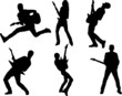 Collection of guitar player silhouettes