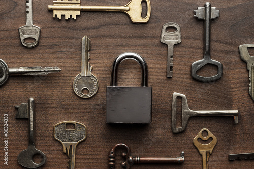 Leinwanddruck Bild check-lock and different keys concept
