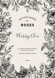 Photo: Vintage vector frame. Garden and wild roses.