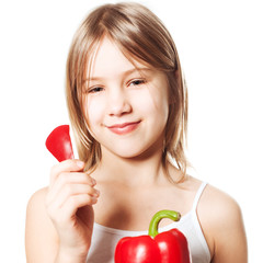 Girl with red pepper vegetable, Healthy Eating concept