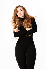 Woman in a black suit. Isolation on a white background.