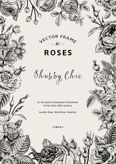 Vintage vector frame. Garden and wild roses.