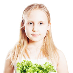 Portrait of Teen Girl with green Vegetable, Healthy Eating conce