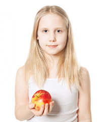 Cute Girl with red apple fruit, Healthy Eating concept