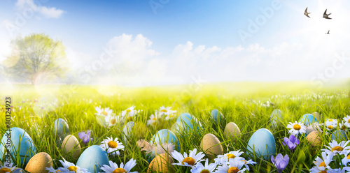 Leinwanddruck Bild art Colorful Easter eggs decorated with flowers in the grass on