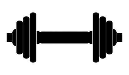 Vector silhouette of dumbbell on a white background
