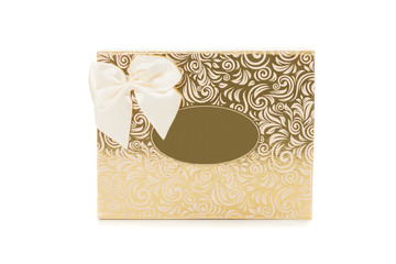 Golden gift box with bow tie front view