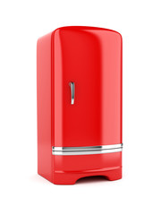 Rendering of red refrigerator, isolated on white background