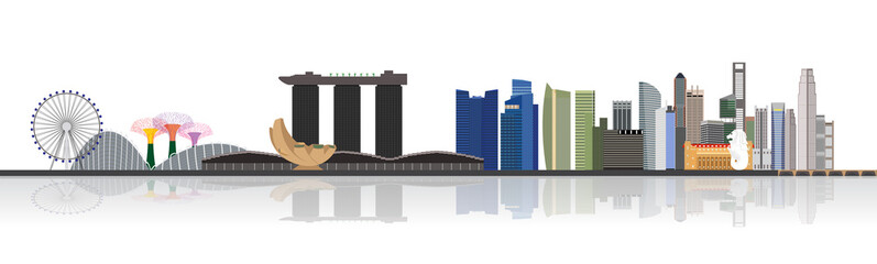 Illustration of Singapore city skyline view at Marina Bay
