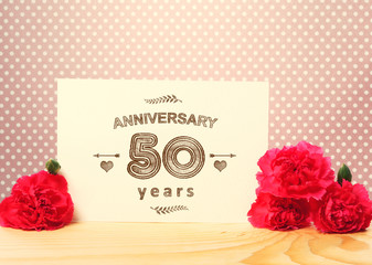 50 years anniversary card with pink carnations