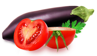 Fresh eggplant and red tomatoes isolated on a white background