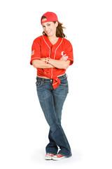 Baseball: Cute Female Baseball Fan with Cap Backwards