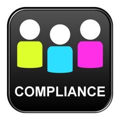 Schwarzer Button mit bunten Icons: Compliance