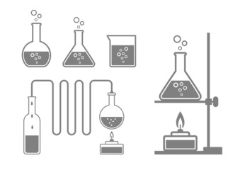 Laboratory glass icons on white background
