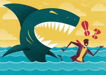 Businessman in Dangerous Shark Attack.