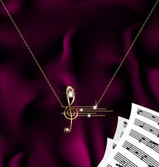 chain with treble clef and notes