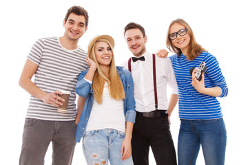 Four stylish young people on white background