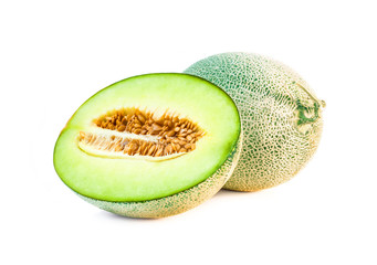 Melon fresh fruit single and half isolated on white background