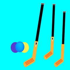 Crossed Hockey Sticks and Puck Silhouette - Vector
