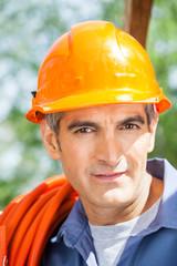 Confident Construction Worker Wearing Hardhat