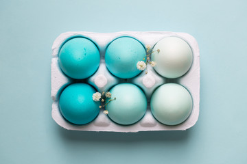 Carton of ombre dyed Easter eggs
