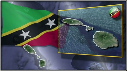 St. Kitts and Nevis  flag and map animation