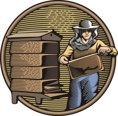 Beekeeper Vector Illustration in Woodcut Style