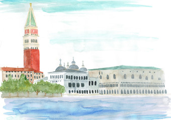 watercolor: Venice, Italy - Piazza San Marco
