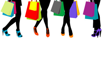 Women silhouettes legs with high heels and shopping bags and pla