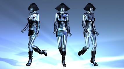 Digital Animation of three walking Manikins