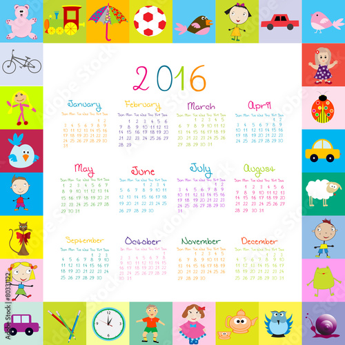 """Frame with cartoon toys 2016 calendar"""" Stock image and royalty-free ..."""