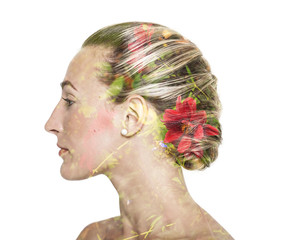 Double exposure of pretty girl and flowers