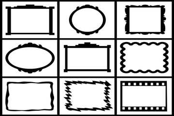 collection of black frames on white backgrounds