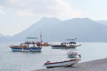 are strolling boats near Cirali beach, Turkish Riviera