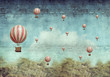 Hot air ballons flying over a forest - 80331940