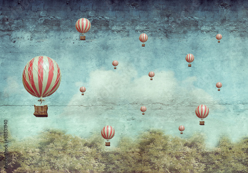 Papiers peints Montgolfière / Dirigeable Hot air ballons flying over a forest