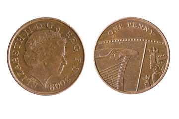 British One Penny Coin Reverse Showing