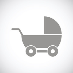 Baby carriage black icon