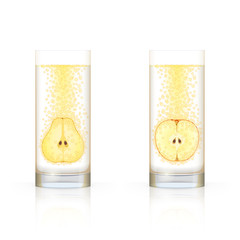 Glasses with fruit and bubbles