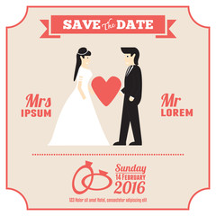 wedding invitation card template with cartoon couple