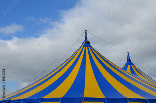 Poster Carnaval Blue and yellow circus big top tent